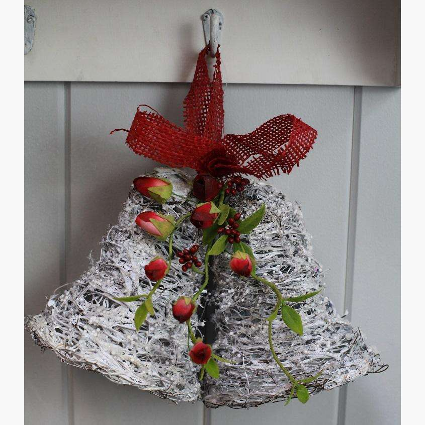 White Twig Decorative Christmas Bells with Rose Buds