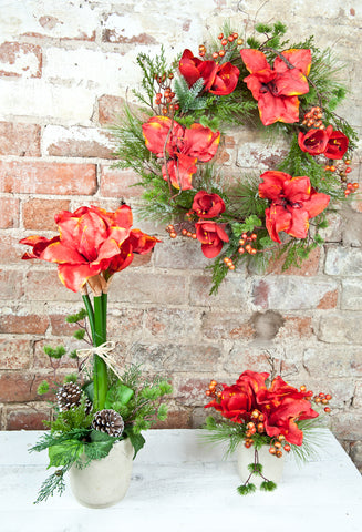 Orange Amaryllis, Berry & Fern Topiary Arrangement