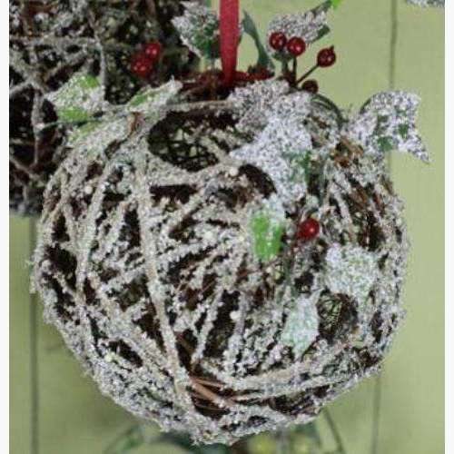 Snowy Twig Pomander with Ivy & Berries - Medium