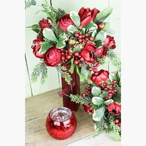 Bouquet of Red Tulips, Ran, Berries & Foliage