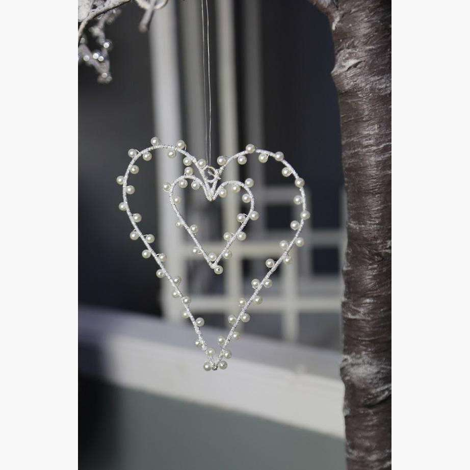 Set of 2 Silver Pearlescent Heart within in a Heart