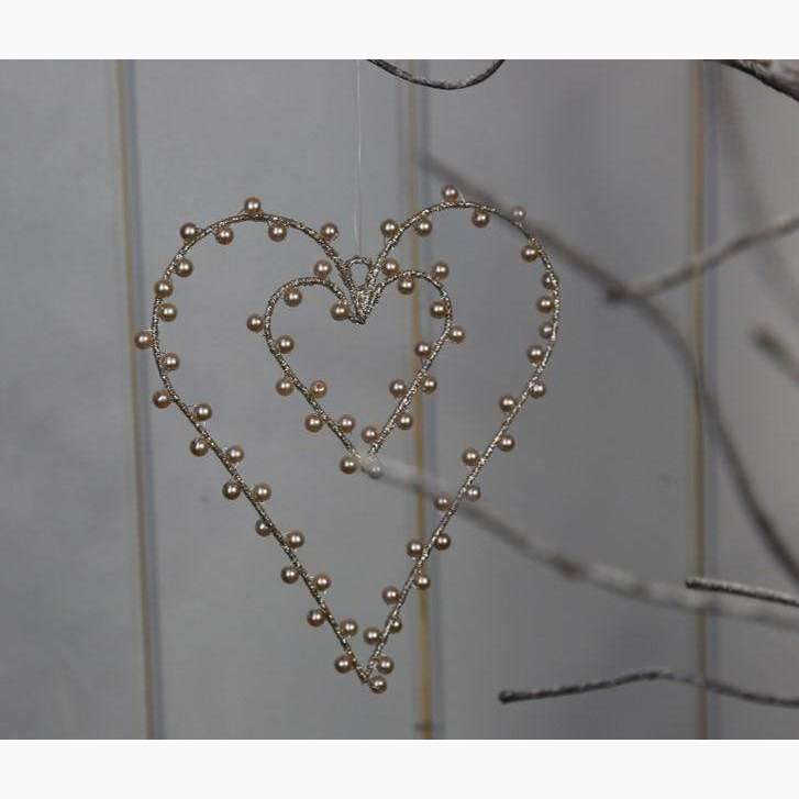 Set of 2 Gold Pearlescent Heart within in a Heart