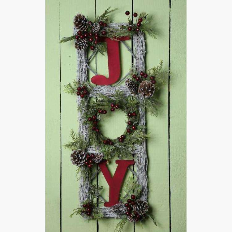 Large Hanging Wall Decoration JOY with Foliage & Red Berries