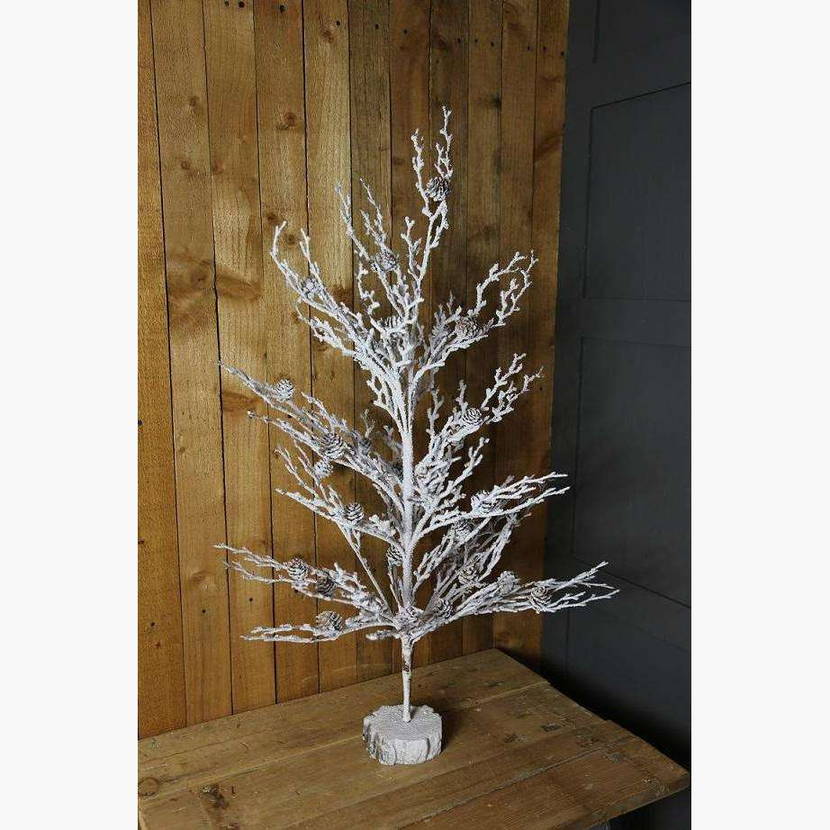 Snow Dusted Twig Tree with Pine Cones