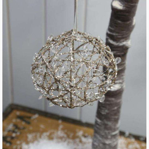 Gold Glitter & Acrylic Bead Hanging Ball