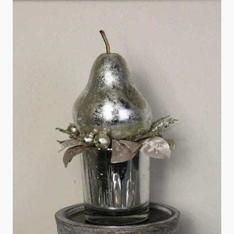 Platinum Pear Decoration in Silver Mercury Glass