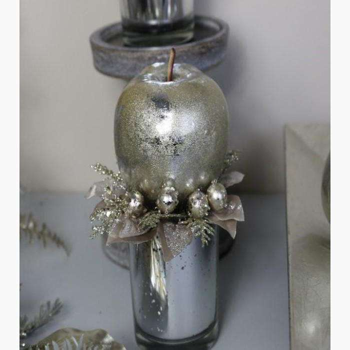 Platinum Apple Decoration in Silver Mercury Glass