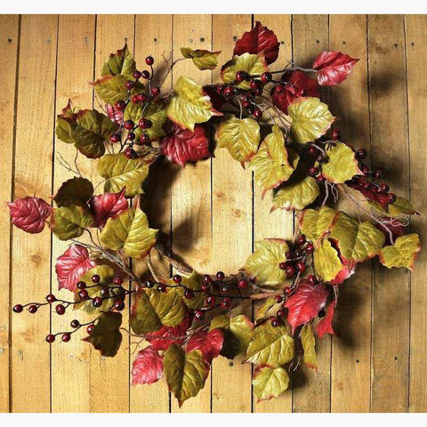 Mixed Waxed Leaf & Redcurrant Wreath