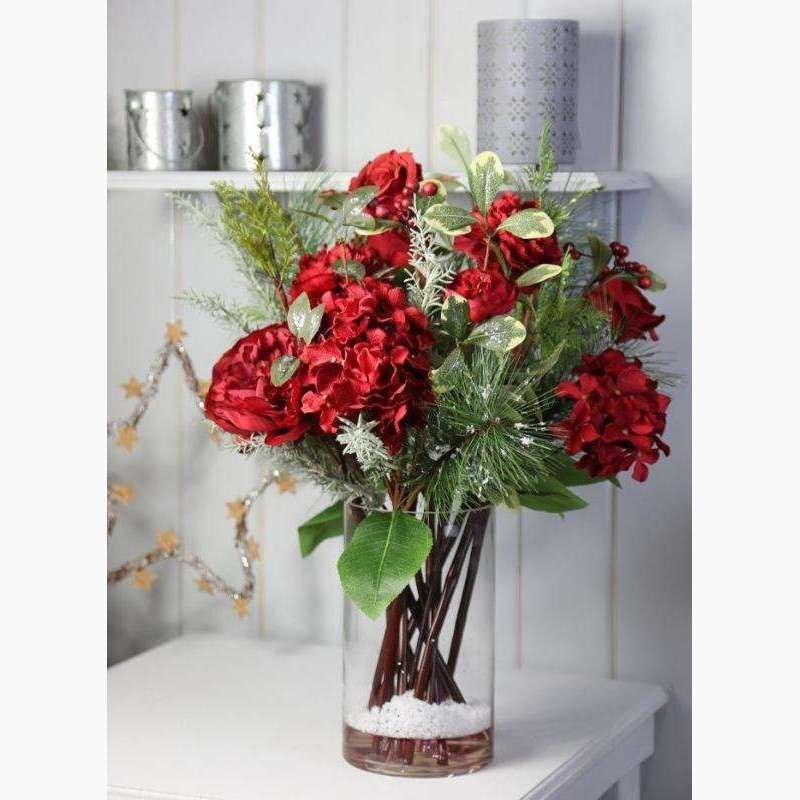 XL Luxury Arrangement of Flowers in Large Tank Vase with Faux Water - Red