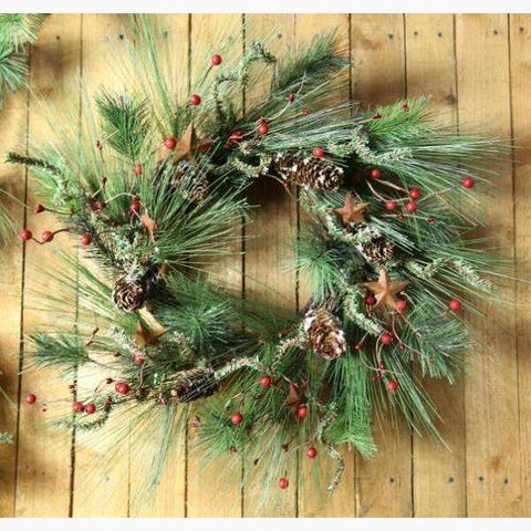Red Berry Wreath Spruce and Snowy Pine Cone with Rustic Metal Stars Wreath