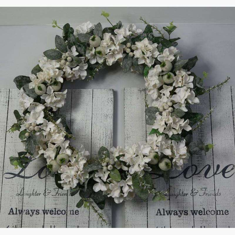 Wreath of Arctic White Iced Hydrangeas & Hip Berries