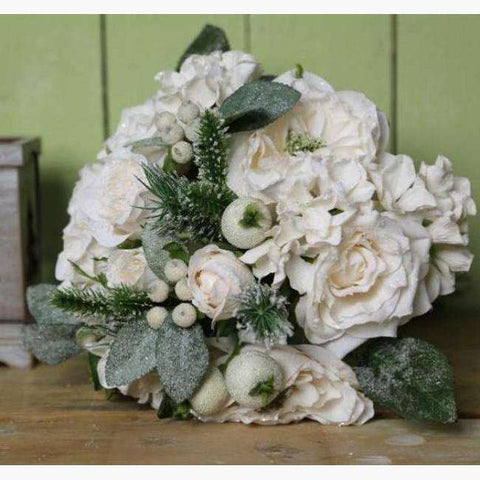 Large Bouquet of Cream Snow Dusted Roses, Iced Berries and Foliage