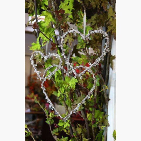 Set of 3 Natural Twig & Icicle Heart Hanging Decorations