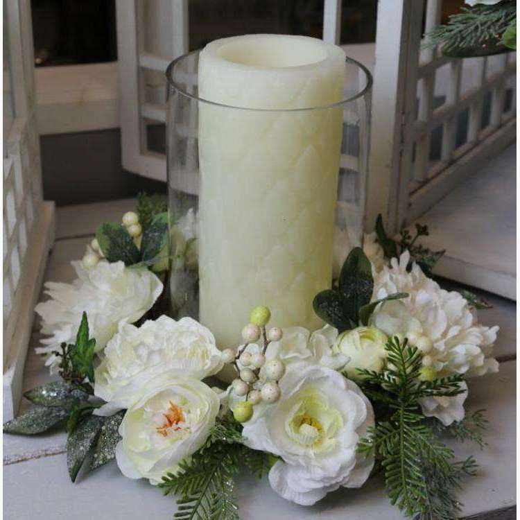 Centre Piece of Arctic White Roses, Peonies, Hydrangeas with Green Berries & Ice Dusted Foliage