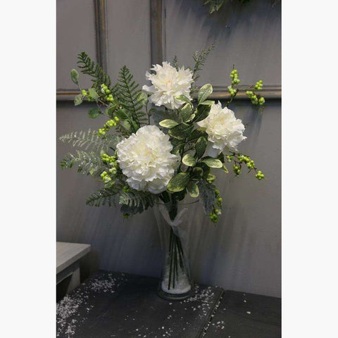Large Tied Bouquet of White Peonies with Green Berries and Iced Dusted Foliage