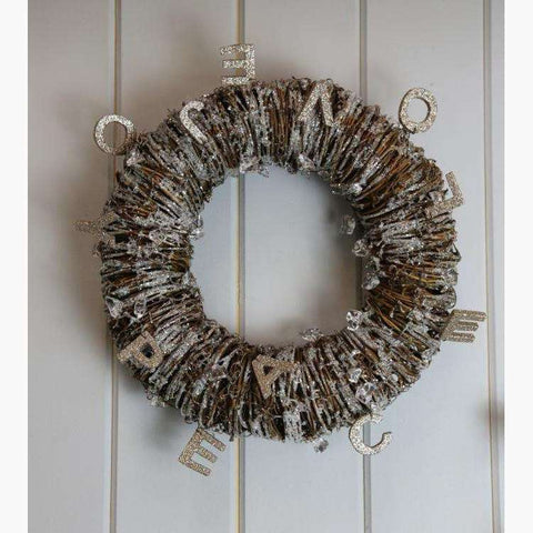 Large Natural Rustic Wreath with Glittered Letters