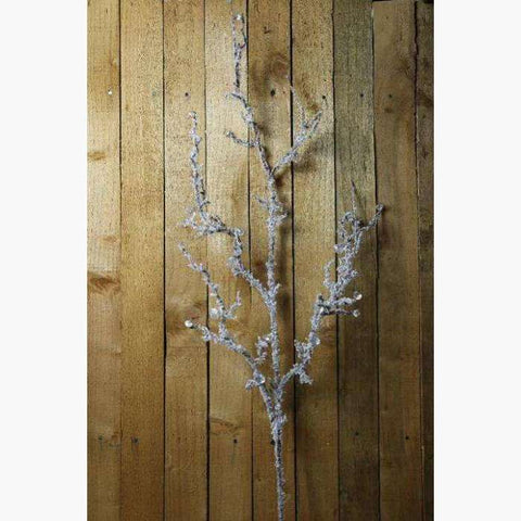 Snowy Flocked Branch with Acrylic Beads