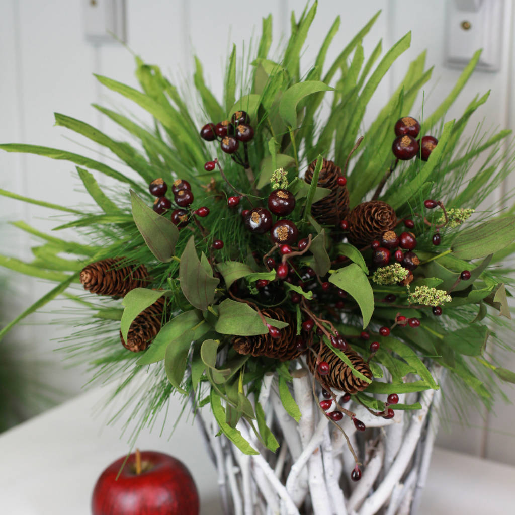 Burgundy Berry, Pine, Spruce & Cone Bouquet