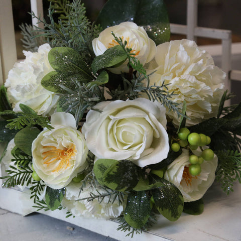 Bouquet of Artic White Roses and Peonies with Green Berries and Iced Dusted Foliage