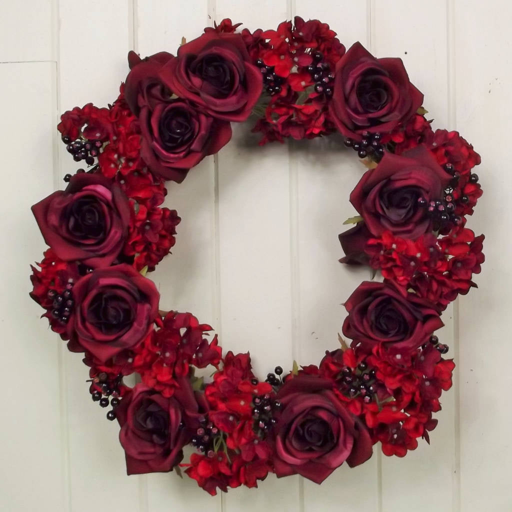 Large Wreath of Deep Burgundy Roses & Berries