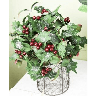 Bouquet of Snow Dusted Holly Leaves & Berries