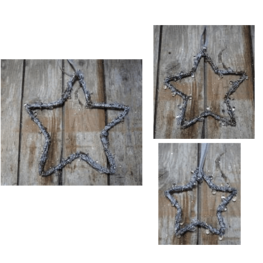 Set of 3 Natural Twig & Icicle Star Hanging Decorations