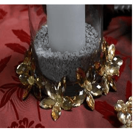 Large Acrylic Flower Candle Ring - Gold