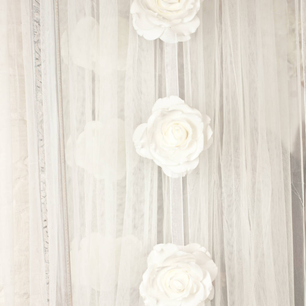 Large Clustered Roses On Hanging Garland White (12 ROSES)