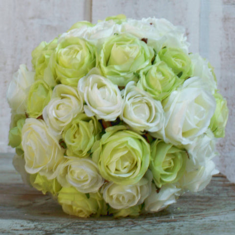 Lux Pomander of Clustered Roses - Cream/Green Mix