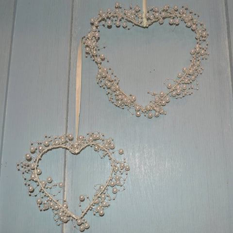 Set of 2 Pearl Cluster Hearts in Cream