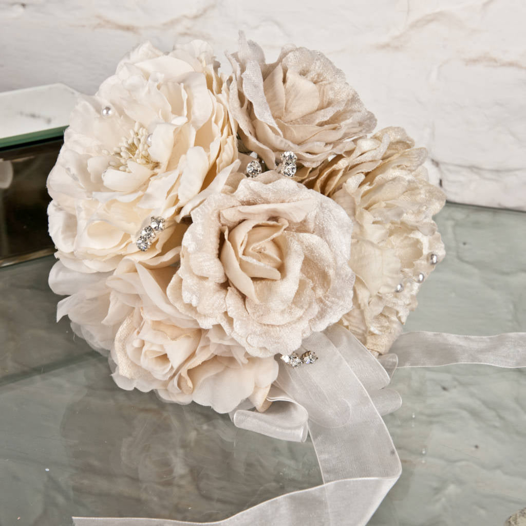 Vintage Style Cream Peony Cluster Bouquet with Diamante