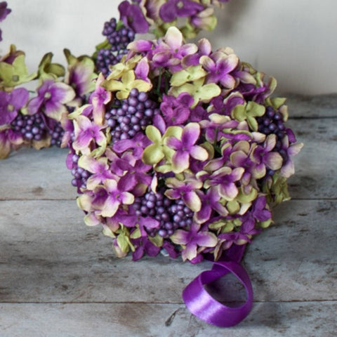 Hydrangea Cluster Ball in Acetate Box - Small - Damson/Green