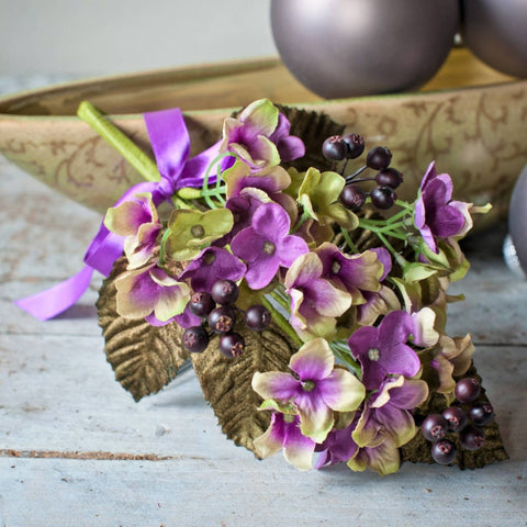 Hydrangea & Berry Pick with Velvet Leaves - Damson/Green