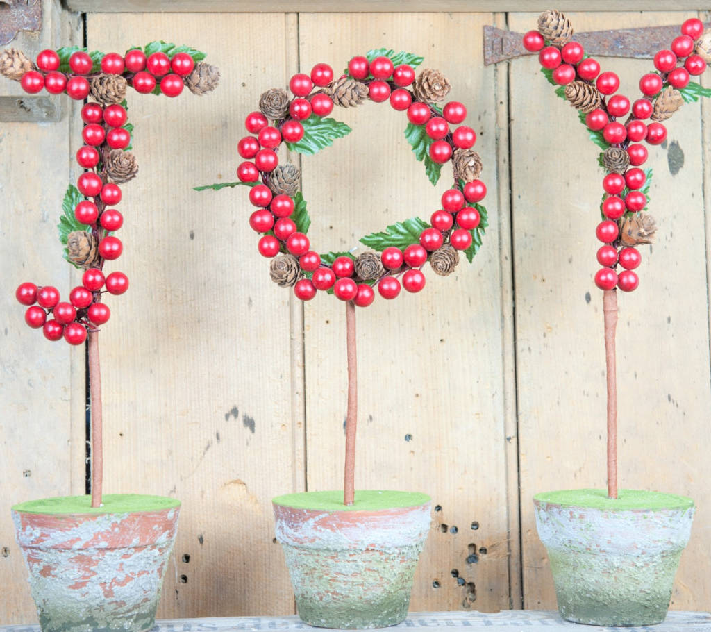 JOY Letters in Aged Pots - Red