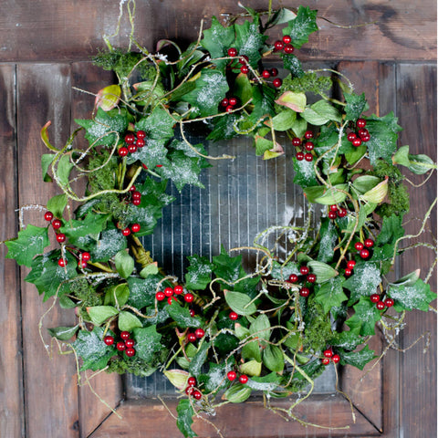 Large Wreath of Snow Dusted Holly Leaves & Berries