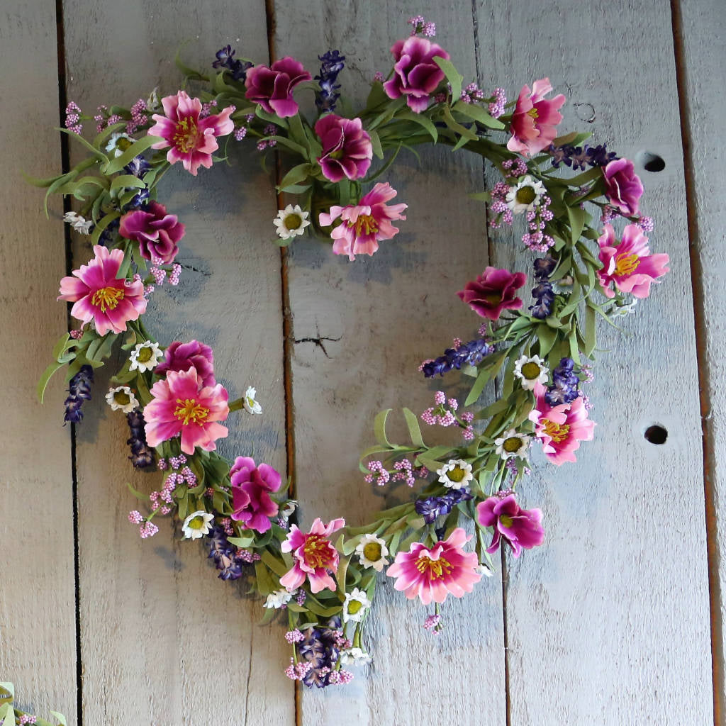 Lilac, Lavender & Mixed Pink Meadow Heart