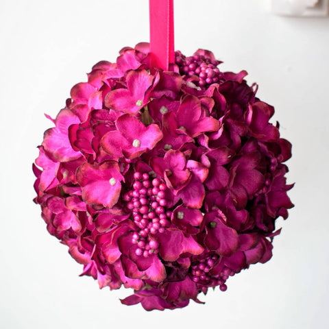 Hydrangea Cluster Ball in Acetate Box - Magenta