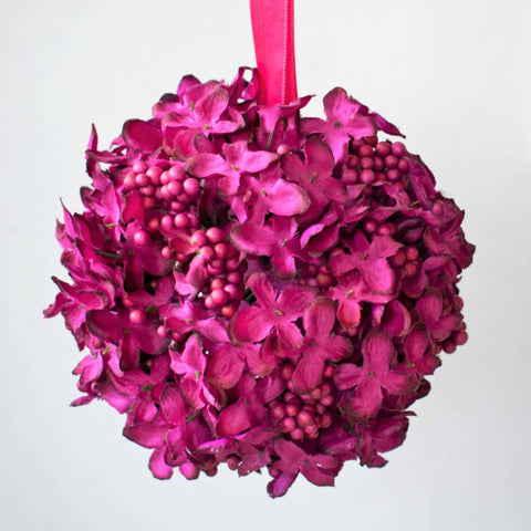 Hydrangea Cluster Ball in Acetate Box - Small - Magenta