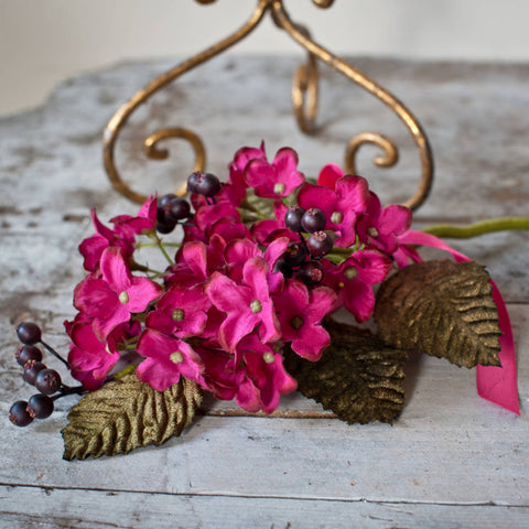 Hydrangea & Berry Pick with Velvet Leaves - Magenta
