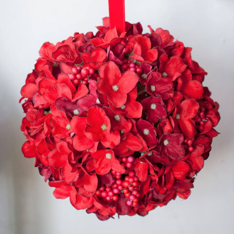 Hydrangea Cluster Ball in Acetate Box - Ruby Red