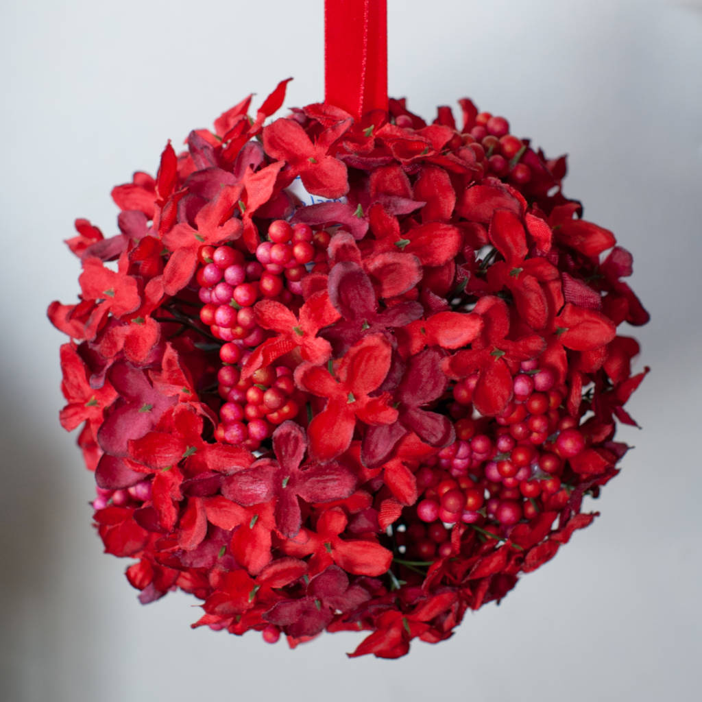 Hydrangea Cluster Ball in Acetate Box - Small - Ruby Red