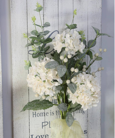 Large Bouquet of Arctic White Iced Hydrangeas, Eucalyptus & Berries