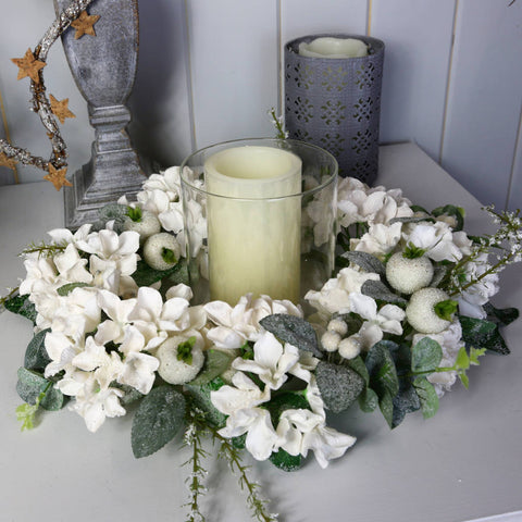 Centrepiece of Arctic White Iced Hydrangeas & Hip Berries