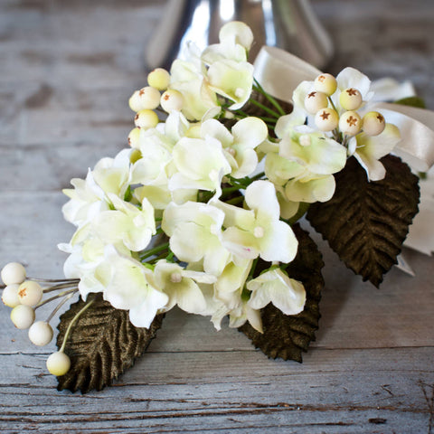 Hydrangea & Berry Pick with Velvet Leaves - Ice White
