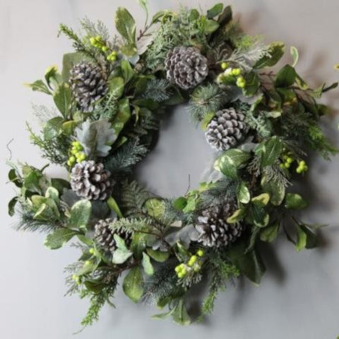Pre Lit Frosted Winter Foliage & Berry XL Wreath