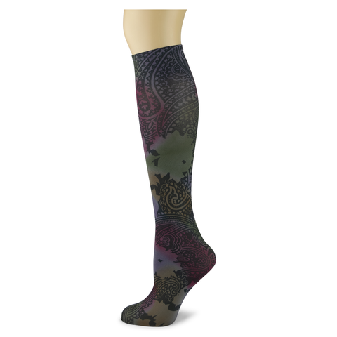 Paisley Potion on Smoke Women's Knee High Socks