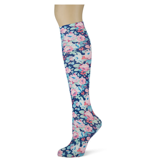pink impressionist flowers on navy background patterned knee high thin socks for women and girls