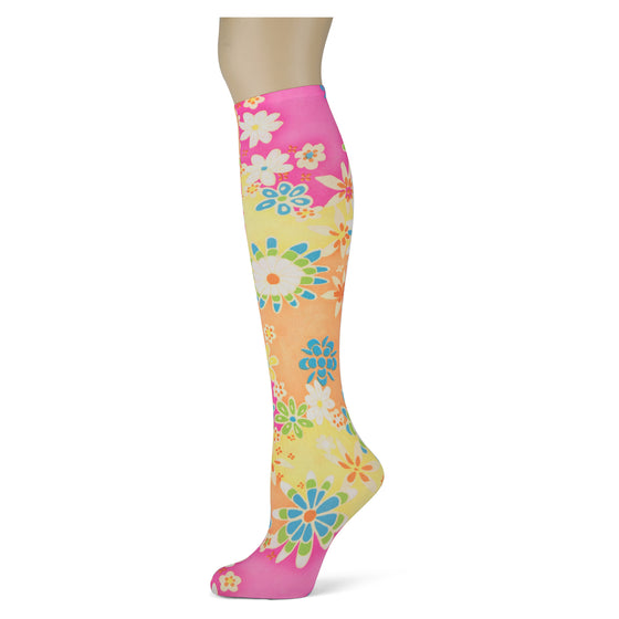 Pink, orange, yellow flower knee high trouser socks for women and girls
