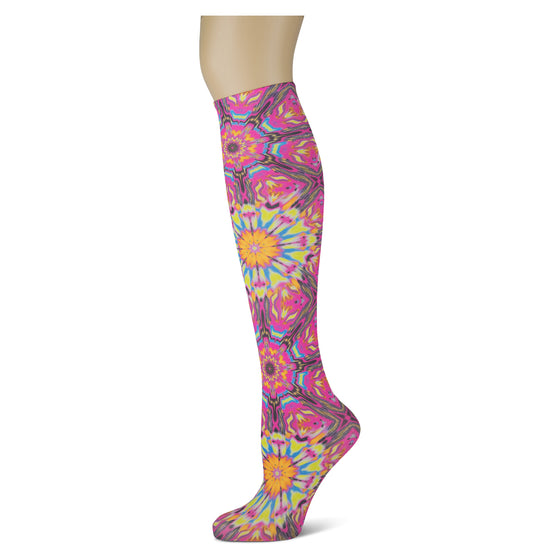 pink and purple mosaic knee high trouser socks for women and girls