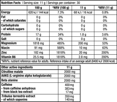 Black Blood 330 g - Supplement Facts
